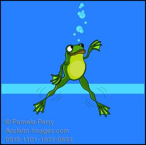 300x298 Cartoon Clip Art Illustration Of A Frog Swimming Under Water