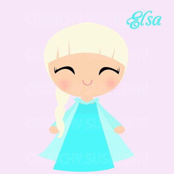 570x570 Instant Download Princess Elsa, Frozen, Cute Kawaii Princess
