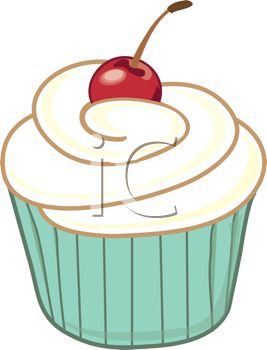 267x350 Picture Of A Vanilla Frosted Cupcake With A Cherry In A Vector