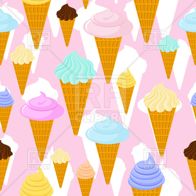 400x400 Ice Cream In Waffle Cone Seamless Pattern Royalty Free Vector Clip