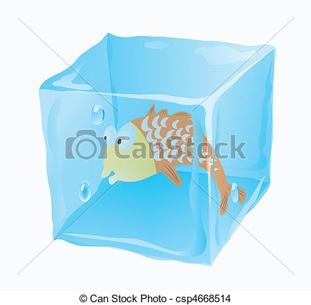 450x441 Ice Cube In Which Fish Is Frozen Eps Vector