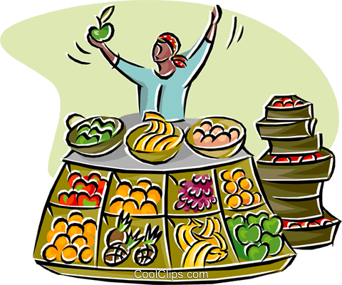 480x400 Merchant Selling Fruits And Vegetables Royalty Free Vector Clip