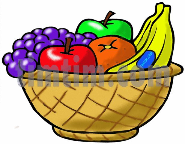 617x480 Vegetables And Fruits In Basket Drawing