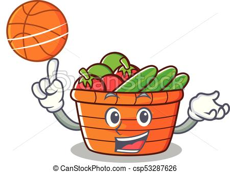 450x339 With Basketball Fruit Basket Character Cartoon Vector Vector