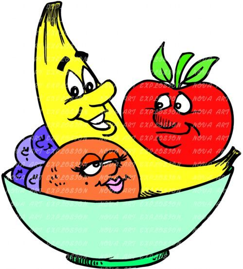 500x554 Cartoon Fruit Bowl Live Healthy Healthy Fruit
