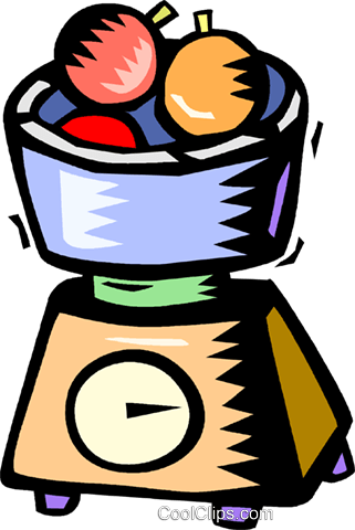 321x480 Bowl Of Fruit On A Kitchen Scale Royalty Free Vector Clip Art