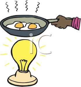 279x300 Clip Art Image A Hand Cooking Eggs In A Frying Pan Over A Light Bulb