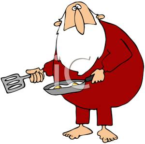 300x298 Clipart Picture Santa Claus Frying Eggs In A Frying Pan