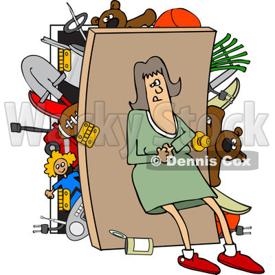 400x400 Clipart Of A Caucasian Woman Pushing Her Back Against A Full