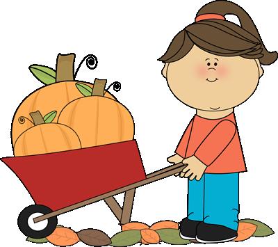 400x355 Girl Pushing Wheelbarrow Full Of Pumpkins Clip Art