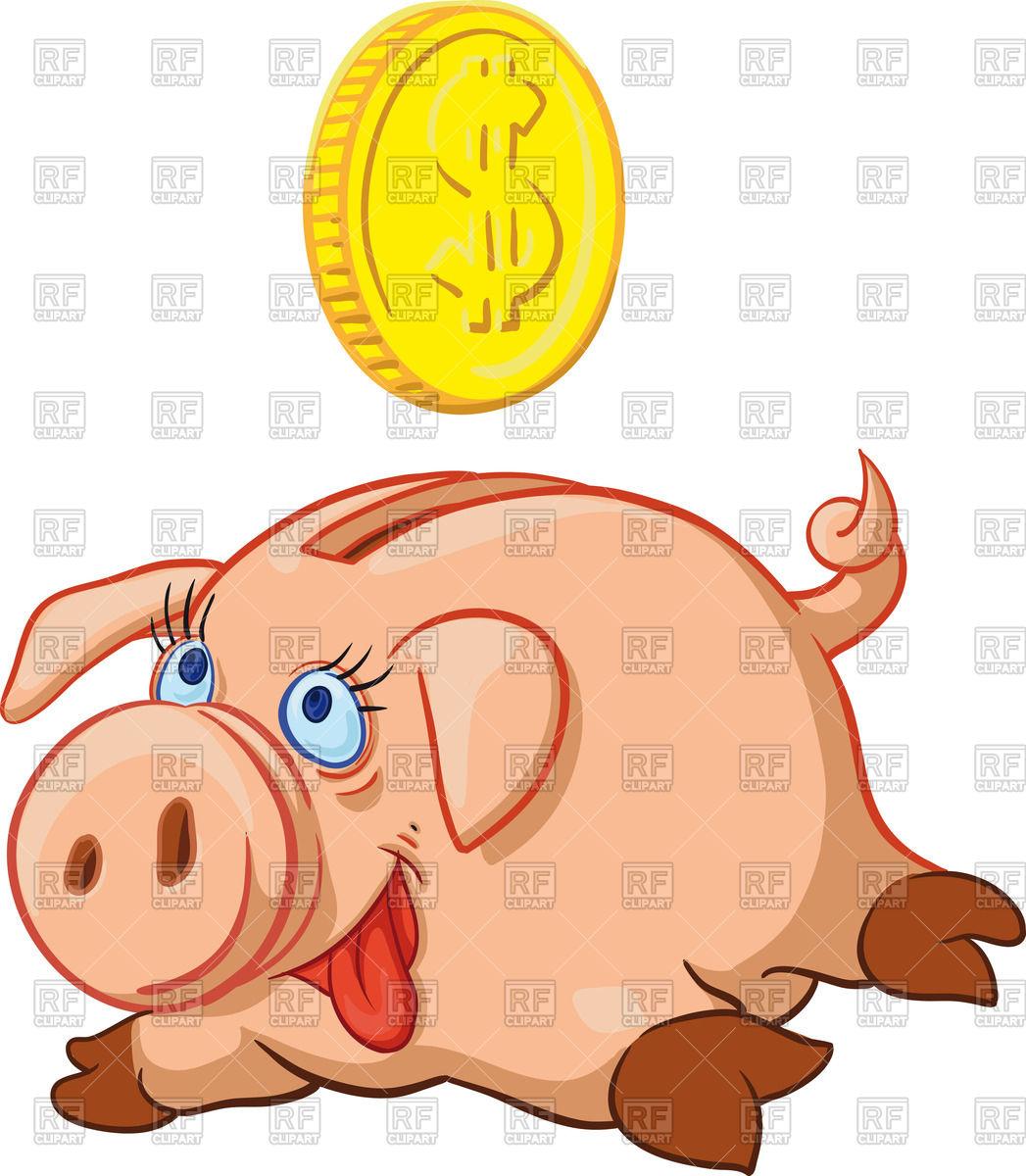 1047x1200 Happy Pig Piggy Bank Full Of Money Royalty Free Vector Clip Art