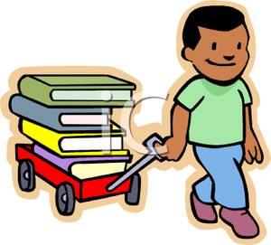 300x271 Clip Art Image A Boy Pulling A Wagon Full Of Books