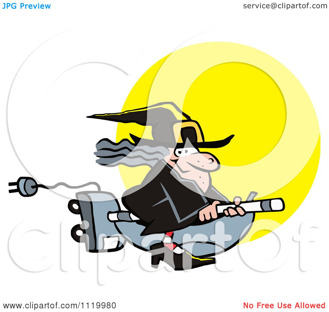 1080x1024 Cartoon Of A Halloween Witch Flying On A Vaccuum Over A Full Moon