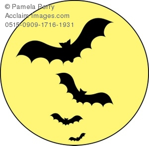 300x293 Vampire Bats Flying Across A Full Moon Royalty Free Clip Art Picture