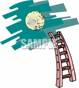 268x300 Clip Art Image A Large Full Moon Above A Ladder