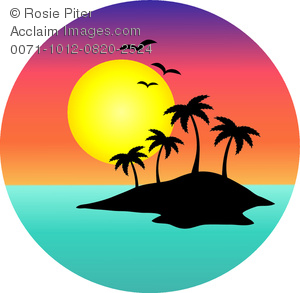 300x293 Clip Art Image Of A Tropical Island With A Full Moon