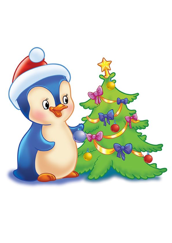 595x842 Penguin And Xmas Tree Clipart Xmas Tree, Penguins