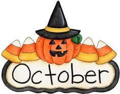 236x186 Fun Month Of October Halloween Scene Clip Art Calendar Topper 2