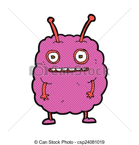450x470 Comic Cartoon Funny Alien Monster. Retro Comic Book Style