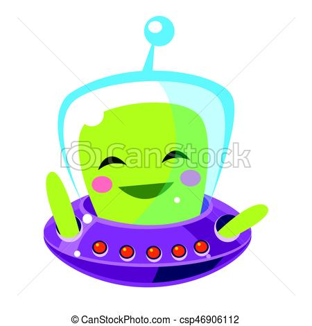450x470 Funny Smiley Alien, Cute Cartoon Monster. Colorful Vector