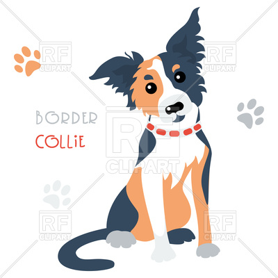 400x400 Cartoon Cute Funny Dog Border Collie Breed Royalty Free Vector