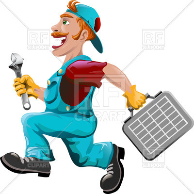 400x400 Funny Running Plumber In Cartoon Style Royalty Free Vector Clip
