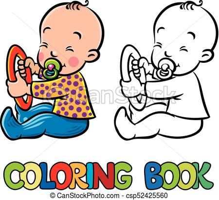 450x411 Funny Small Baby Sitting With Dummy. Coloring Book. Funny Clip