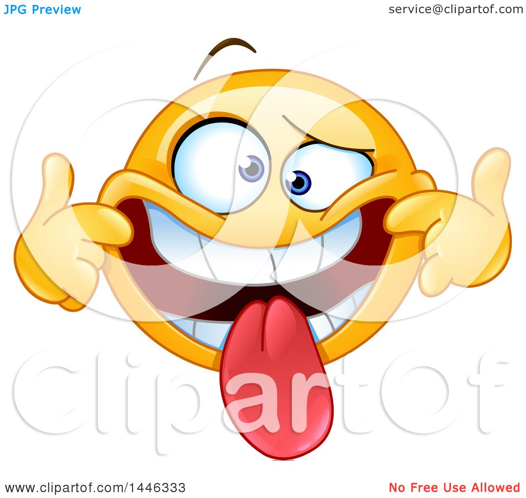 1080x1024 Clipart Of A Cartoon Silly Yellow Emoji Smiley Face Emoticon
