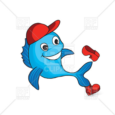 400x400 Funny Cartoon Dolphin In Cap And Shoe Royalty Free Vector Clip Art