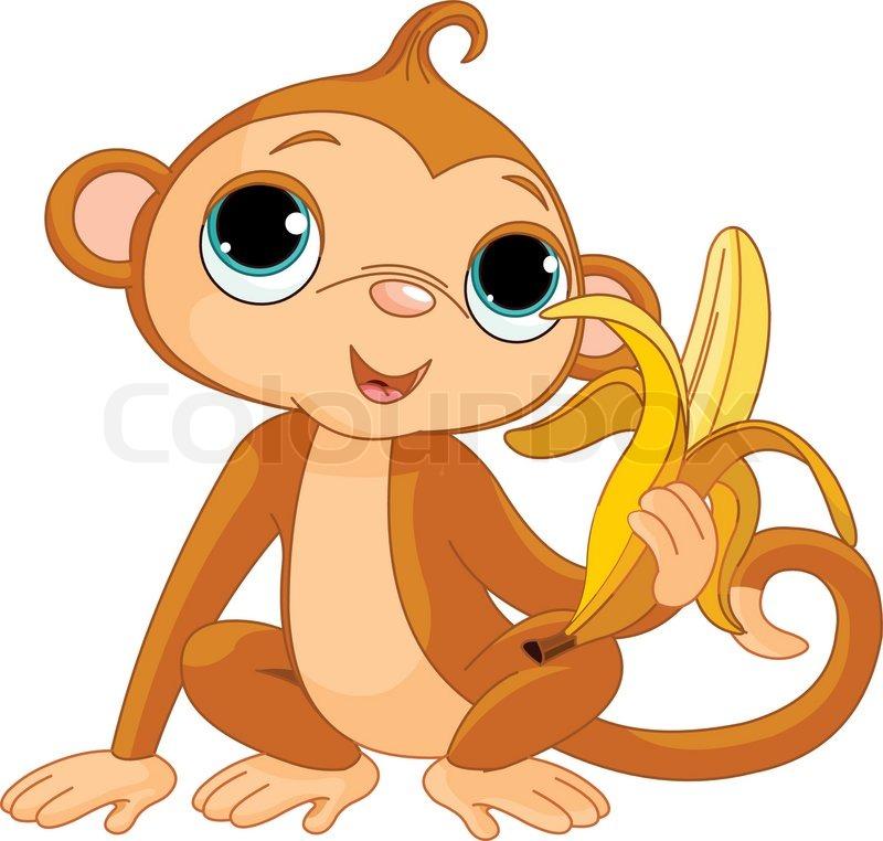 800x762 Illustration Of Funny Monkey With Banana Stock Vector Colourbox