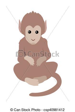 314x470 Brown Monkey Illustration. Funny Monkey Sitting Isolated