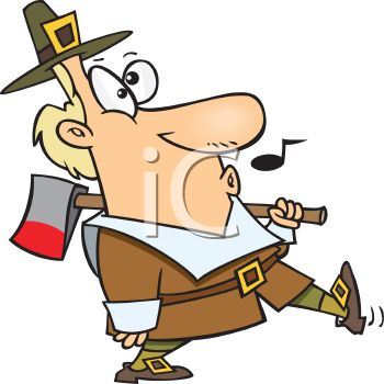 350x350 Funny Pilgrim Whistling While He Goes To Get The Thanksgiving