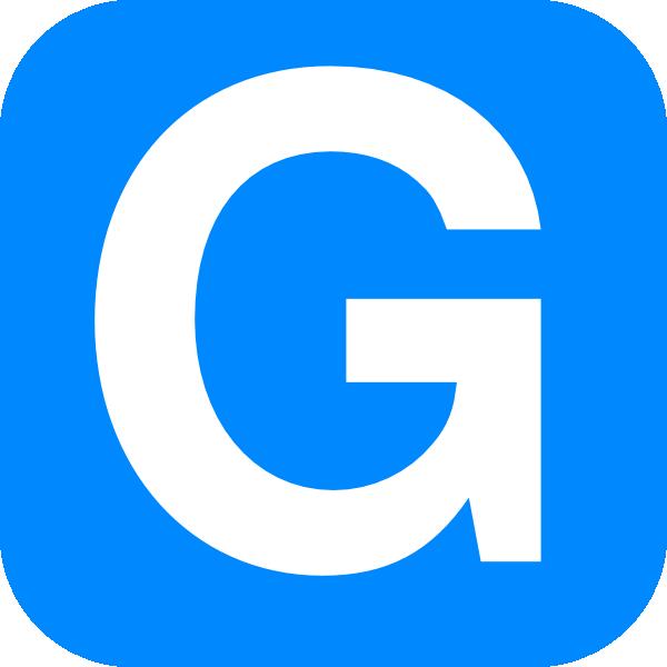 600x600 Blue Alphabet G, G Letter Clip Art