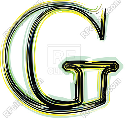 400x377 Organic Font Illustration Letter G Royalty Free Vector Clip Art