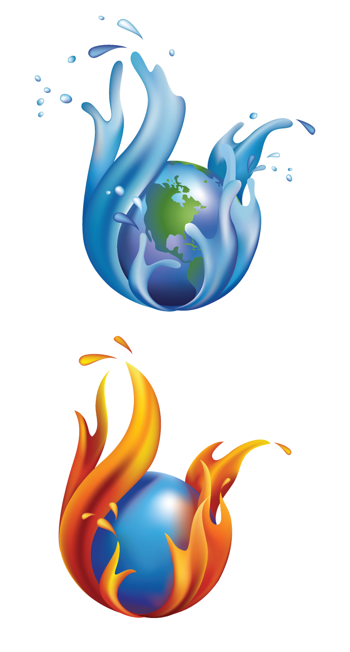 690x1285 Fire And Water Clipart