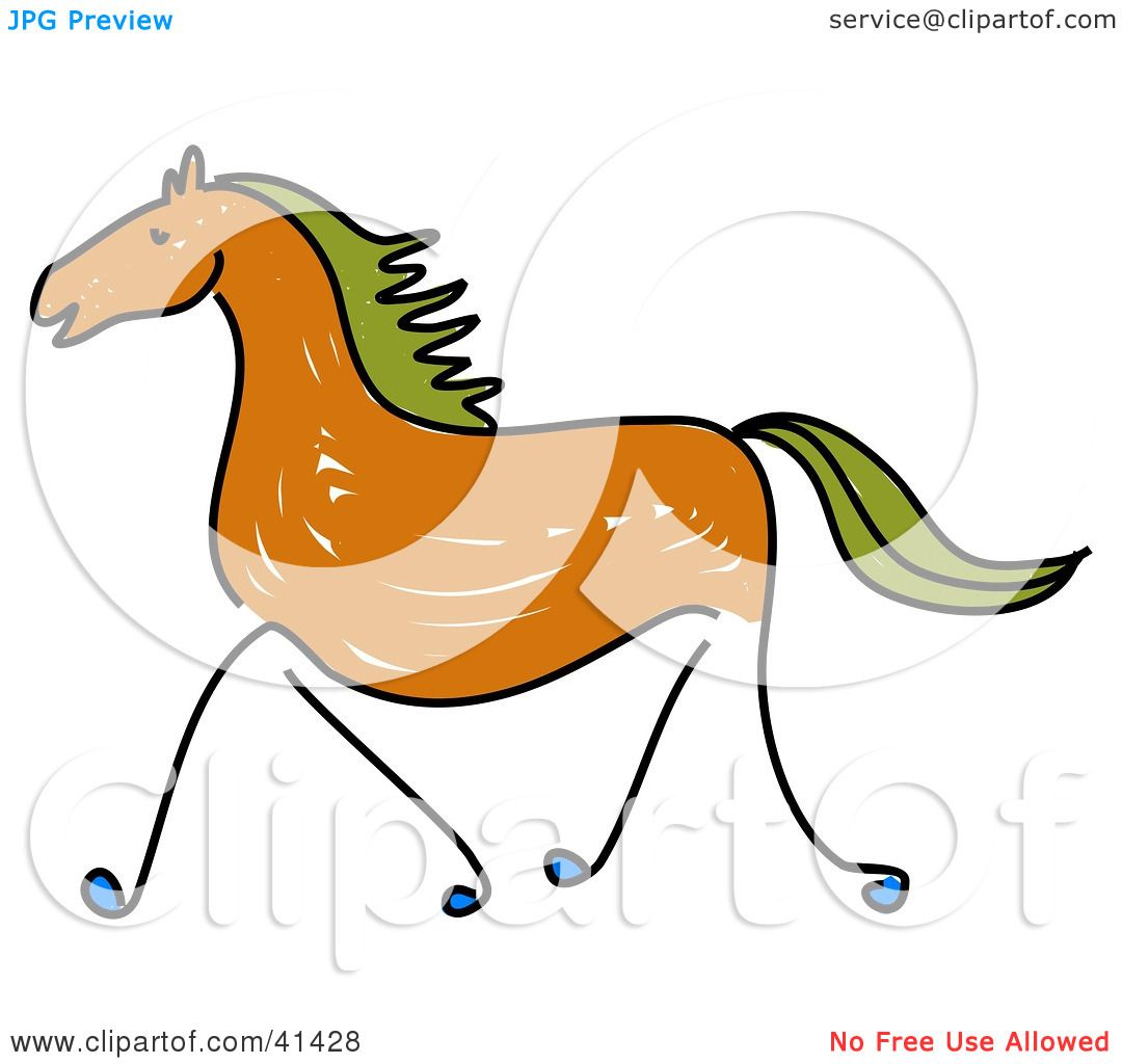 1080x1024 Clipart Illustration Of A Sketched Brown Galloping Horse