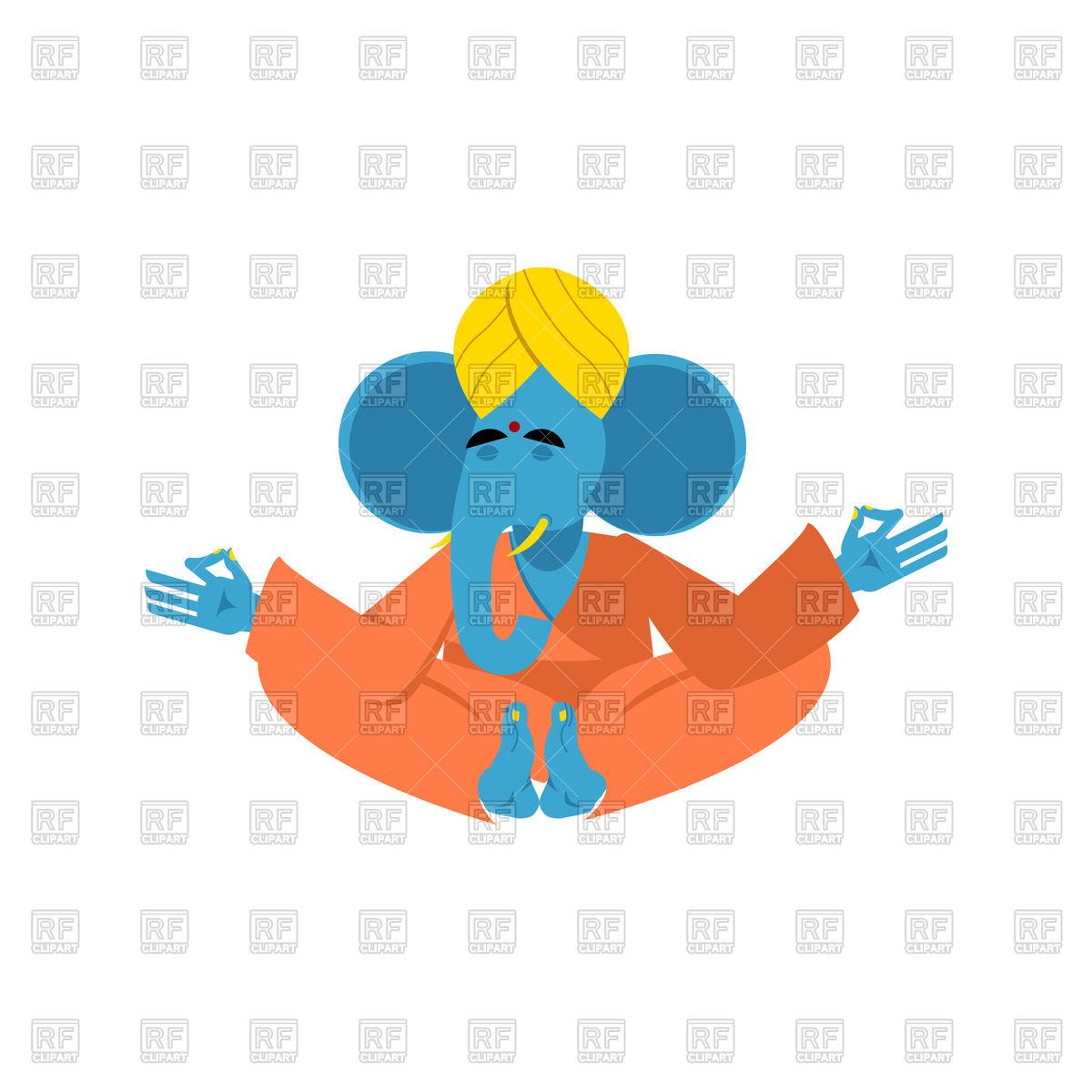 1200x1200 Sacred Elephant In India. Ganesha Yoga. Royalty Free Vector Clip