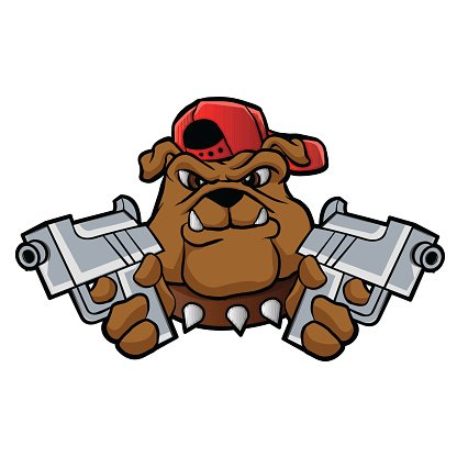 416x416 Gangster Bulldog With Pistols Stock Vectors