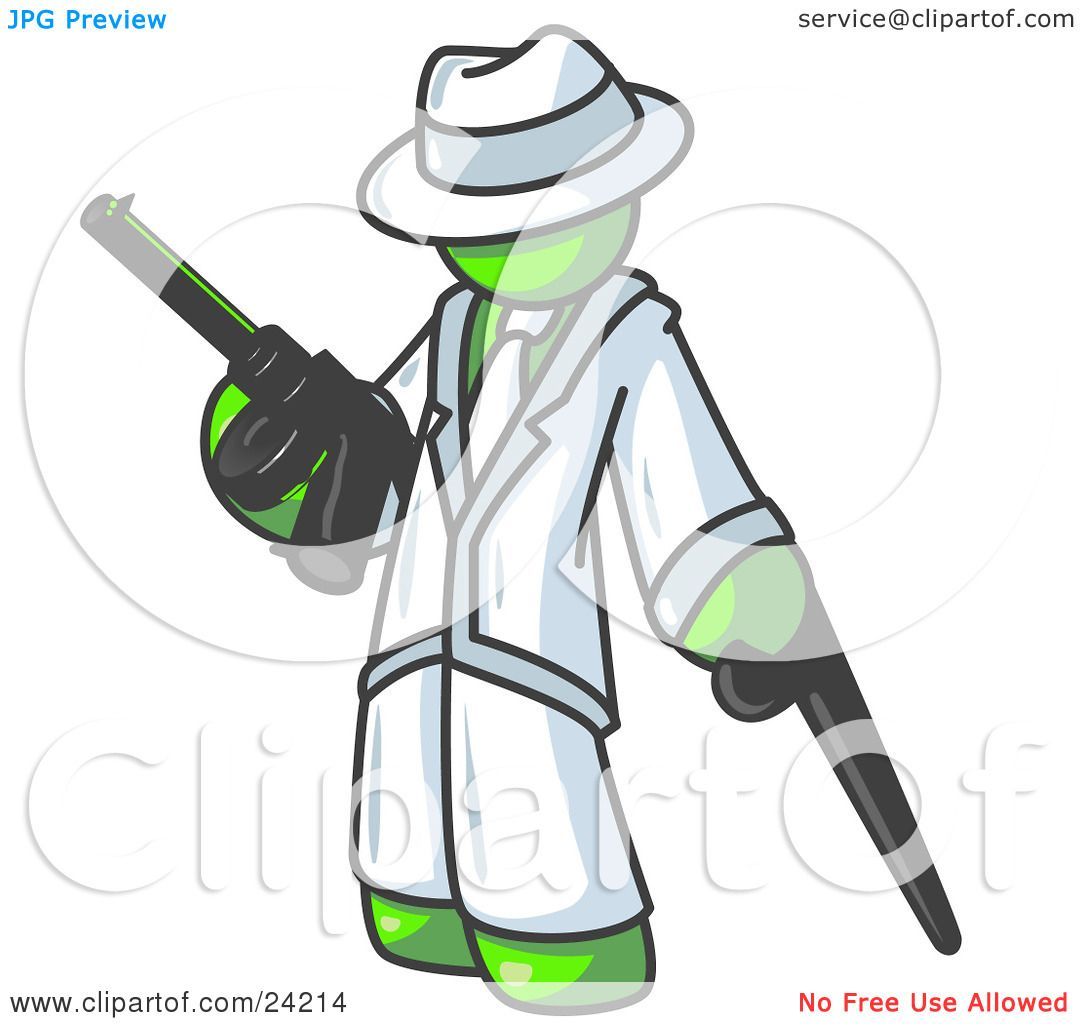 1080x1024 Clipart Illustration Of A Lime Green Gangster Man Carrying A Gun