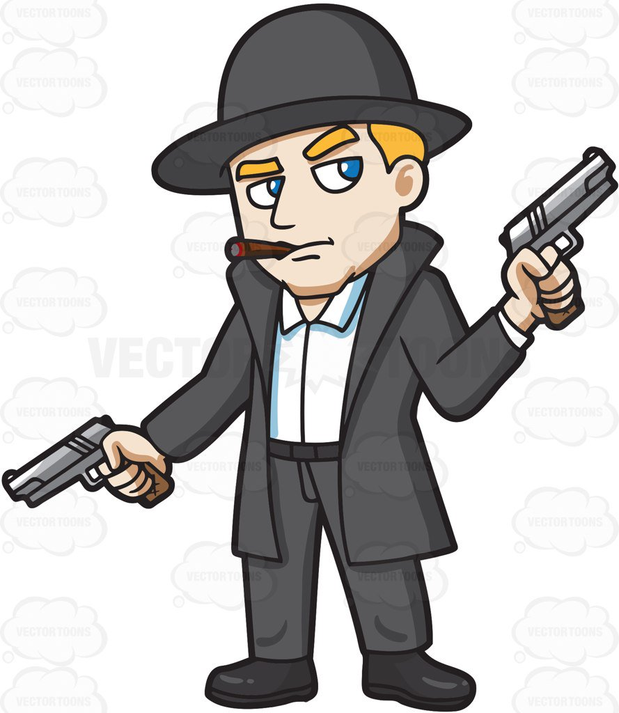 889x1024 A Mobster Holding Hand Guns In Both Hands Cartoon Clipart Vector