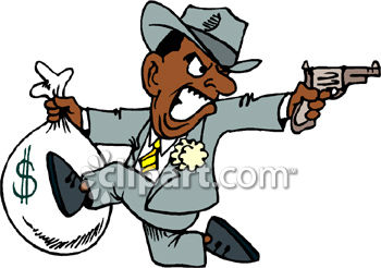 350x246 Royalty Free Clip Art Image Mobster Bank Robber Running Away