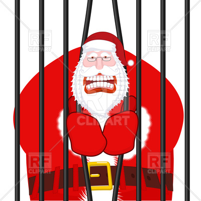 400x400 Santa Claus Gangster. Christmas In Prison. Royalty Free Vector