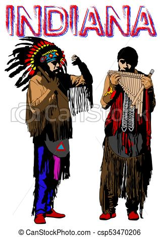 317x470 American Indian Four. American Indian In National Clothes