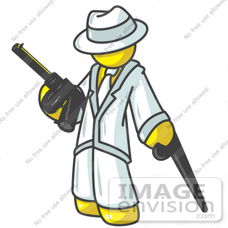450x450 Clip Art Graphic Of A Yellow Guy Character Gangster With A Gun