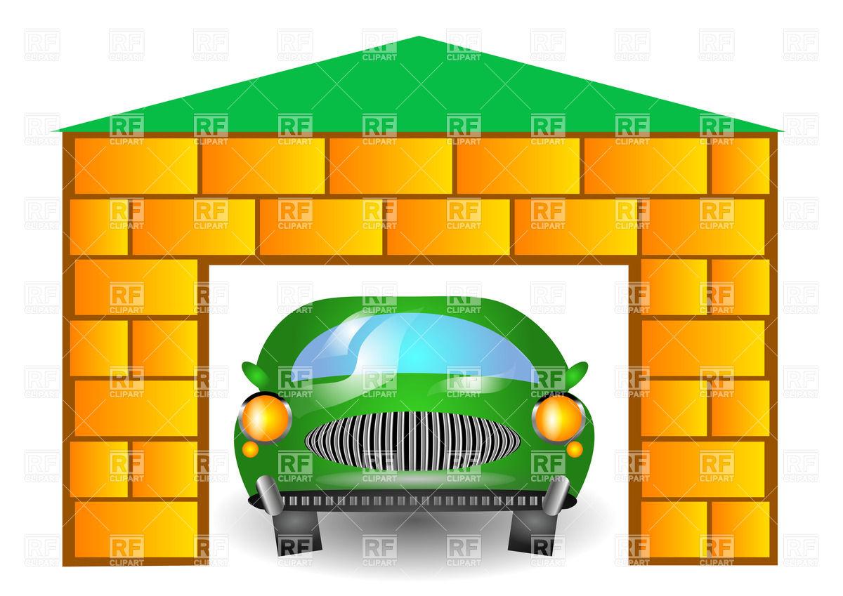 1200x849 Green Cartoon Retro Car In Garage Vector Image Vector Artwork