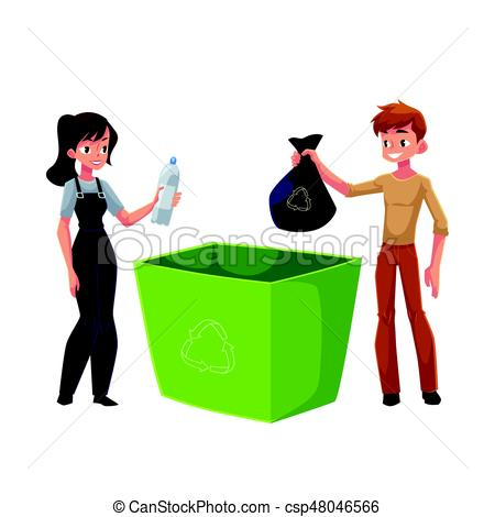 450x470 Man, Woman Putting Garbage Into Trash Bin, Waste Recycling Clip