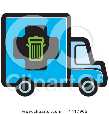 450x470 Clipart Of A Cartoon Black And White Man Driving A Garbage Truck