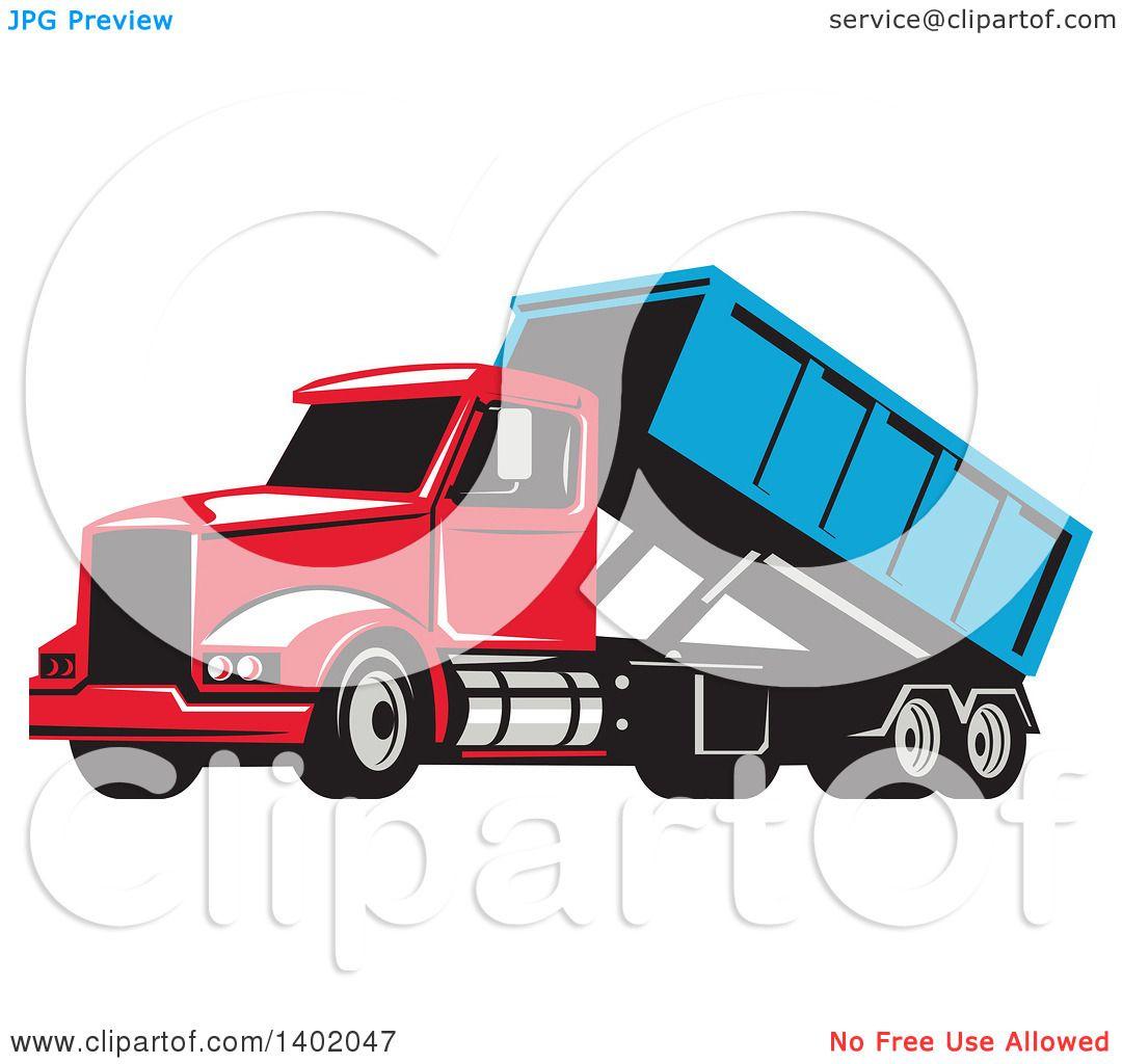 1080x1024 Clipart Of A Retro Roll Off Bin Dump Truck