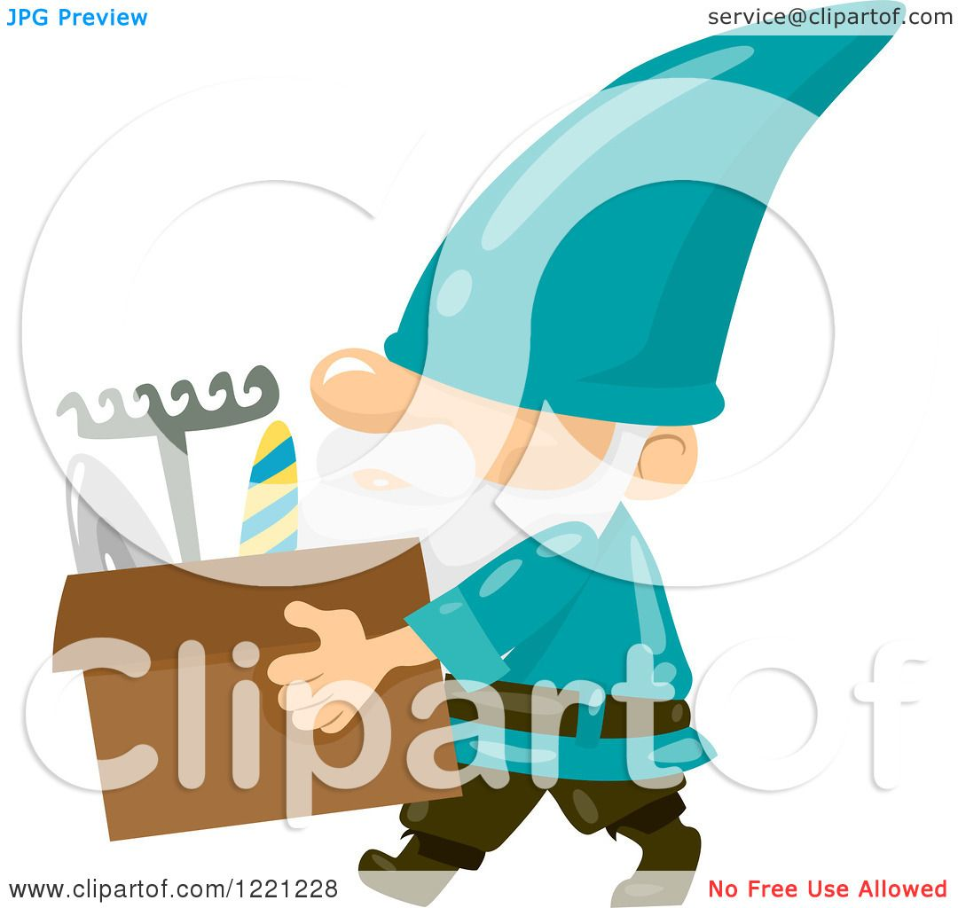1080x1024 Clipart Of A Garden Gnome Carrying A Box Of Tools