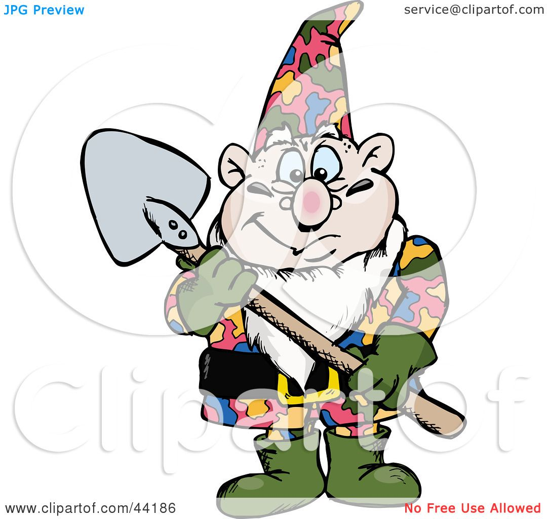 1080x1024 Clipart Illustration Of A Chubby Garden Gnome Holding A Shovel By